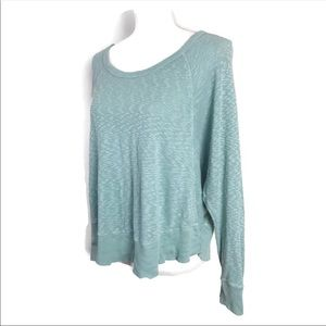 Anthropologie Left Of Center Top Green Thermal Tee